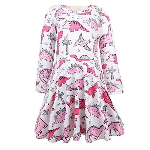 Bleubell Girls Dinosaur Dress Long Sleeve Woven Smock Dress 3T