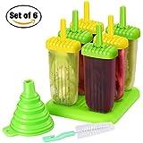 Eisformen TOPELEK 6 Eisformen Popsicle Formen Set, 6 Eis Pop Macher, LGFB Geprüft und BRA Frei, mit Reinigungsbürste und Falttrichter.