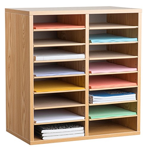 AdirOffice Wood Adjustable Literature Organizer (16 Compartment, Medium Oak) (Medium Oak Literature Organizer)
