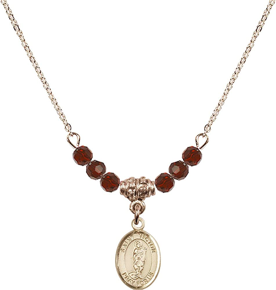18-Inch Hamilton Gold Plated Necklace with 4mm Garnet Birthstone Beads and Gold Filled Saint Victor of Marseilles Charm.