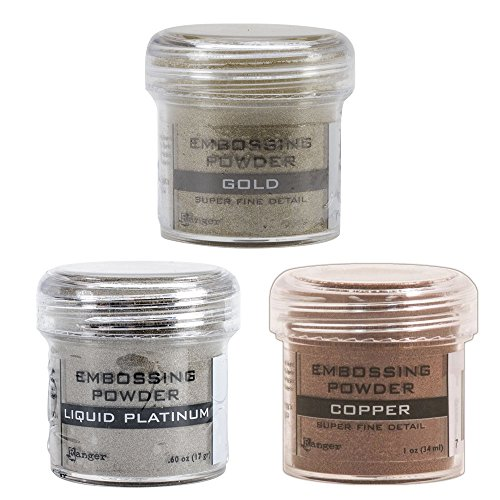 Ranger Embossing Powder Metallic Bundle: Super Fine Gold, Liquid Platinum, and Super Fine Copper