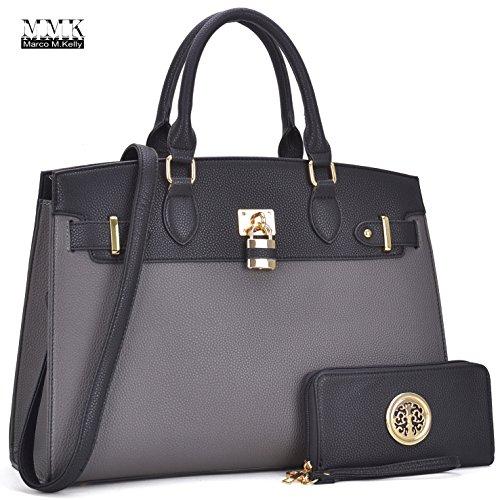 MMK Collection Women Fashion Handbag Matching wallet~Signature Designer Top Handle Satchel Tote Bag Shoulder Bags (FN-03-6876-W-GY/BK)