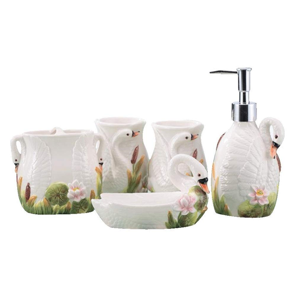 DDSS Bathroom accessories set Bathroom Living Goods Ceramic Bathroom Five-Piece Personal Hygiene Set /-/