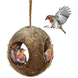SunGrow 3-Hole Coco Bird Hut - Perfect for Hiding Millet and Nesting Material - Birdhouse Makes for Mini condo - Charming Natural Home Decor - Hang Food Dispenser in a Tree in Front Yard or Patio