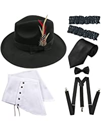 8216b0b2c7ae 1920s Trilby Manhattan Fedora Hat, Gangster Spats/Armbands,Suspenders  Y-Back Trouser