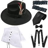 ZeroShop 1920s Trilby Manhattan Gangster Fedora Hat, Gangster Spats,Garters Armbands,Suspenders Y-Back Elastic Trouser Braces,Pre Tied Bow Tie,Gangster Tie (OneSize, Black)