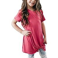 Karbin Girls' Short Sleeve Tops T-Shirt Casual Tee Knot Front Design 4-13 Years