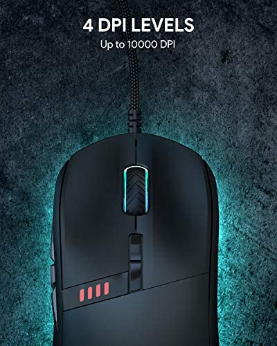 AUKEY Knight Gaming Mouse, RGB Wired Gaming Mouse with 10000 DPI, 8 Programmable Buttons, RGB Lighting Effects, Macros, Fire Button Gaming Mice for PC and Mac 51rQCrghM L