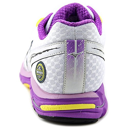 Mizuno Womens Wave Rider 17, White/Purple/Dark Beige, 8.5 AA