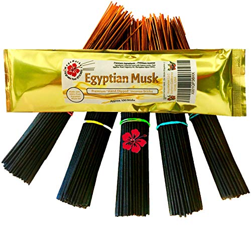 WagsMarket Premium Hand Dipped Incense Sticks, You Choose The Scent. 100-12in Sticks. (Egyptian Musk) - Hand Dipped Incense