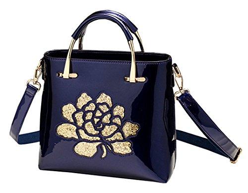 Himaleyaz Bolso italiano de las mujeres del cuero de patente con la correa ajustable del hombro Bolso de la bolsa de mensajero con la flor de la lentejuela Vino Rojo Azul