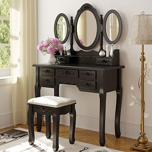 Tribesigns Wood Makeup Vanity Table Set with 3 Mirror & Stool Bedroom Dressing Table Makeup Desk, Black (Mirror Bedroom Sets)