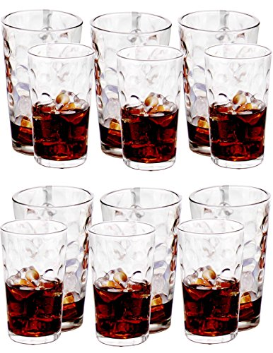Amlong Crystal Harmony Drinking Glasses Set of 12 pieces, (6 X 12oz, 6 X 16oz) ()