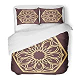 Emvency Bedding Duvet Cover Set Full/Queen (1 Duvet Cover + 2 Pillowcase) Laser Cutting Panel Golden Floral Favor Box Silhouette Hexagonal Coaster for Metal Hotel Quality Wrinkle and Stain Resistant