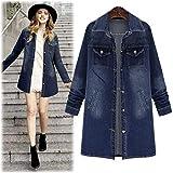 OCASHI Women Long Denim Jacket Casual Loose Long Sleeve Jean Jacket Plus Size Girls Denim Coat Outwear (L, Blue)