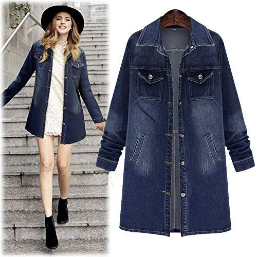 - Orangeskycn Womens Denim Jacket Plus Size Long Outcoat Pockets Jean Outwear