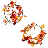 Juvale Artificial Maple Leaf Garland - 2-Pack Fall Autumn Decoration, Fake Foliage, Thanksgiving Decor, Yellow, Orange Red, Great Wedding, Home Decoration