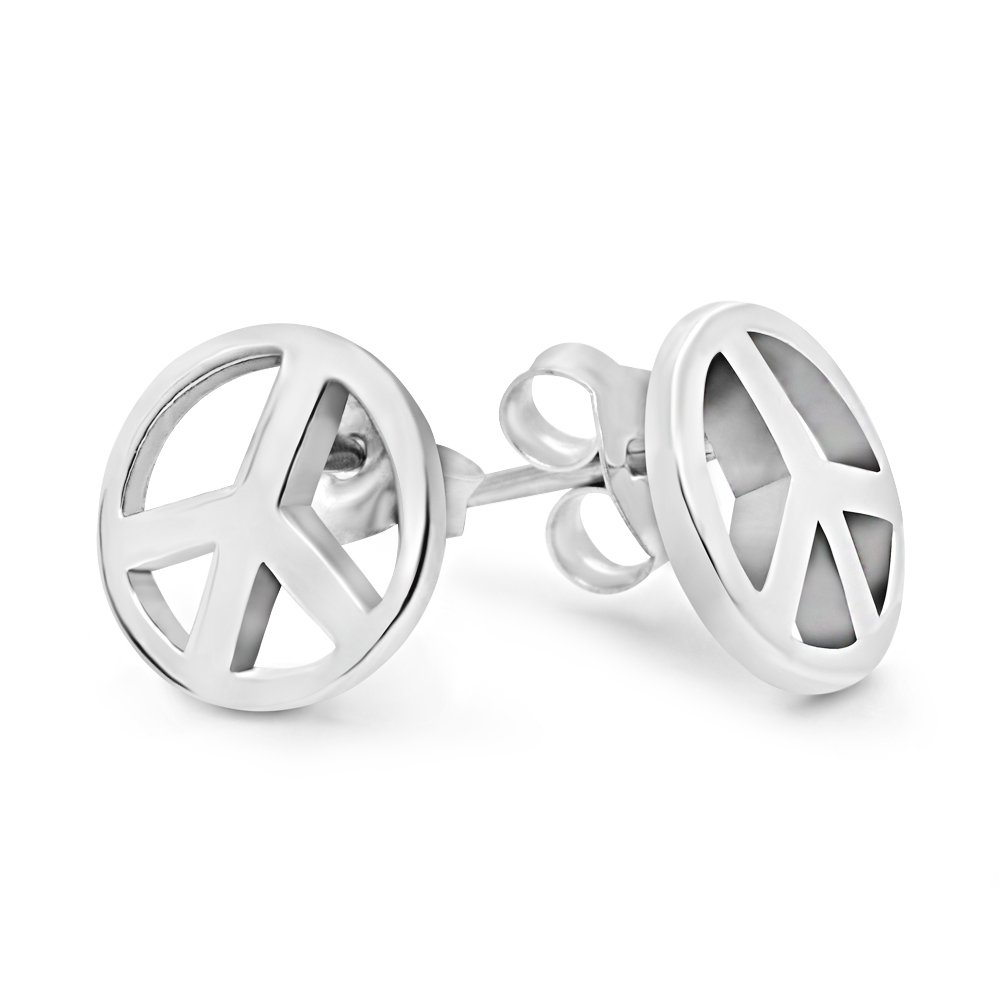 925 Sterling Silver Peace Sign Stud Earrings (9 mm)