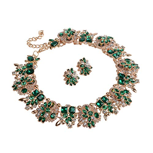Holylove Green Retro Style Statement Necklace Earrings for Women Novelty Jewelry Set 1 with Gift Box-8041BGreen Set