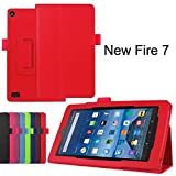 Amazon Fire 7 Case, SATURCASE PU Leather Flip Folding Folio Stand Protective Case Cover for Amazon Kindle Fire 7 Tablet (7.0 inch HD Display - 2015 release) Red