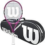 Wilson Burn Pink Junior 23 Inch Tennis Racquet bundled with a Black/White Wilson Advantage II Triple Tennis Bag
