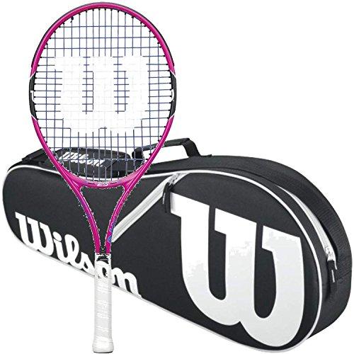 Wilson Burn Pink Junior 25 Inch Tennis Racquet bundled with a Black/White Wilson Advantage II Triple Tennis (Advantage Tennis Racquet)
