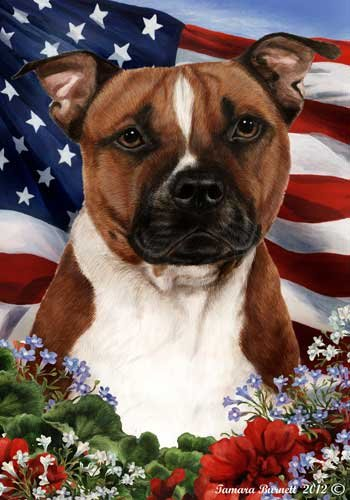 Pitbull Dog Breed Patriotic House Flag 28 x 40 Inches