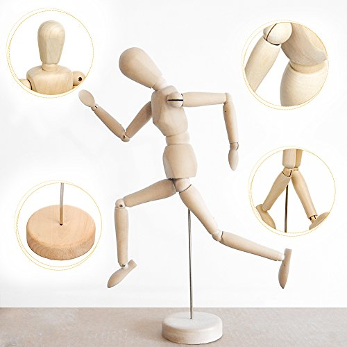 Female Artist Painting (Wooden Human Art posable Drawing Flexible joints Mannequin Manikins Figures Doll Model for Artists sketch charcoal Home Office Desk Decoration Kids children toys gift 12'')
