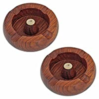 Fine Craft India Portable 3.1 Inch Wooden Cigarette Ashtray Holder Women Outdoor Home Accessories Handmade Gifts for Men