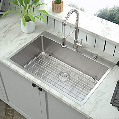 30 Inch Drop In Kitchen Sink Mocoloo 30 X22 16 Gauge Stainless Steel Topmount Granite Composite Kitchen Sink With 10 Inch Deep Single Bowl Brushed Finish Amazon Com