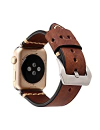 Genuine Solid Soft Stitched Leather Apple Watch Replacement Band, for Men or Women by Pantheon, For the 38mm or 42mm, the Straps fit the Apple iWatch Series 3, 2, 1, Nike Edition