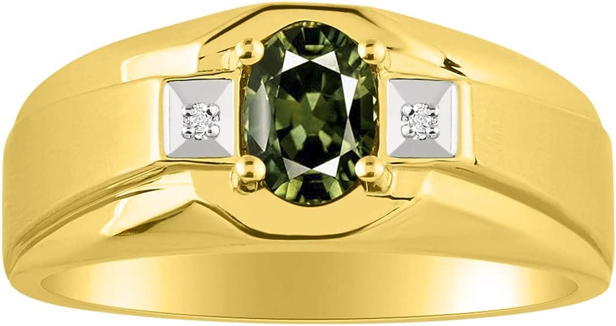 RYLOS - Anillo para hombre con piedra preciosa de forma ovalada y diamantes brillantes auténticos en oro amarillo de 14 K con acabado satinado - 7 x 5 mm esmeralda, rubí, zafiro color piedra