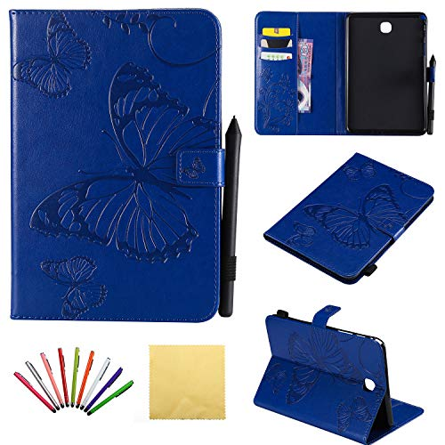 Uliking Folio Stand Case for Samsung Galaxy Tab A 8.0 (2015) (SM-T350/T355/P350/P355), Slim Smart Vintage PU Leather Wallet TPU Cover with Card Pocket Pencil Holder [Auto Sleep/Wake], Blue Butterfly]()