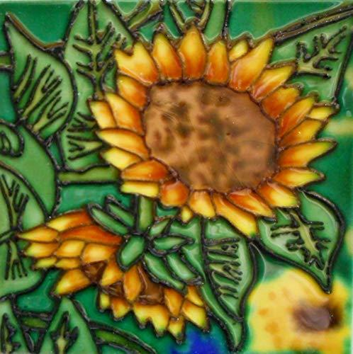 (Tile Craft 8 x 8 inch Sunflower Ceramic Art Tile with Easel Back)