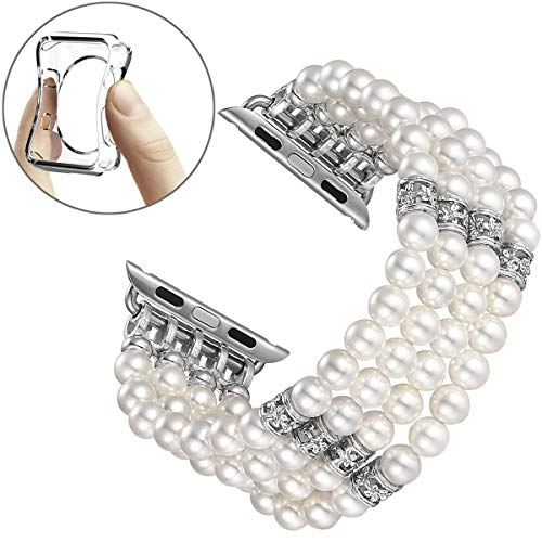 fastgo Compatible for Apple Watch Band 38mm 40mm, Fashion Handmade Elastic Stretch Faux Pearl Bracelet Replacement Women Series 4/3/2/1 (White-38mm)