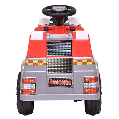 (BeUniqueToday 6 V Kids Ride On Rescue Fire Truck, Multi-Functional Steering Wheel, Ladder Can Move Up and Down)