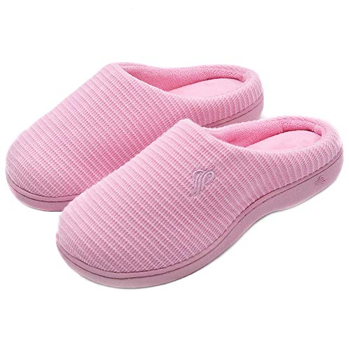 Wishcotton Womens Cozy Breathable Memory Foam Slippers Nonslip Rubber Sole House Shoes Rose Pink