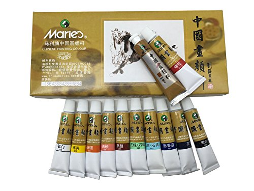 - Easyou Marie's Chinese Painting Color Tubes Big Size Watercolor Set Pigment 12ml12colors