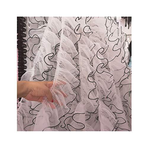 12cm Wide Organza Pleated Chiffon Lace Applique Ruffle Trim Ribbon DIY Sewing Wedding Dress Curtain Clothing Fringe Decor,White Black Edge