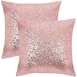 "PONY DANCE Sequins Cushion Covers - Xmas/Party / Banquet Home Decor Luxurious Sequins Throw Pillow Cover Shams Glitter Pillowcases Including Hidden Zipper Design, 18"" x 18"", Pink, Set of 2"