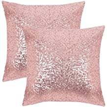 """PONY DANCE Home Decorative Sequins Cushion Covers Xmas Home Decor Luxurious Sequins Throw Pillow Cover Shams Glitter Pillowcases Including Hidden Zipper Design,18"""" x 18"""" Inch,Set of 2,Pink"""