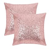 PONY DANCE Home Decorative Sequins Cushion Covers Xmas Home Decor Luxurious Sequins Throw Pillow Cover Shams Glitter Pillowcases Including Hidden Zipper Design,18'' x 18'' Inch,Set of 2,Pink