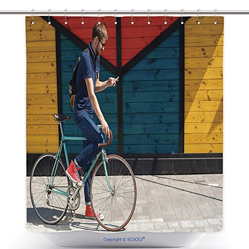 Express Costume Hire (Mildew Resistant Shower Curtains Young Funny Man With A Hire Bike Checking Her Phone Space For Text 481062082 Polyester Bathroom Shower Curtain Set With Hooks)