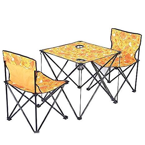 LTQ&QING New 2PCS Camping Plegable Mesa y sillas con Bolsa de Jard ...