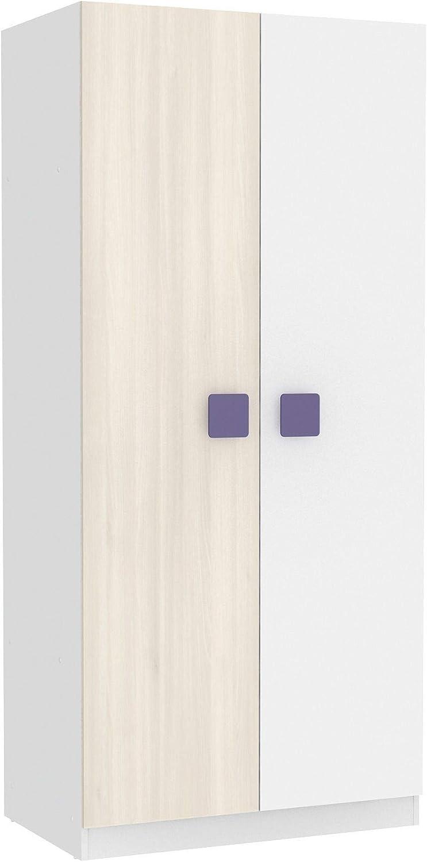 Miroytengo Armario Juvenil Akaz 2 Puertas habitación Dormitorio Tirador Malva Color Blanco y Acacia 56x91x200 cm: Amazon.es: Hogar