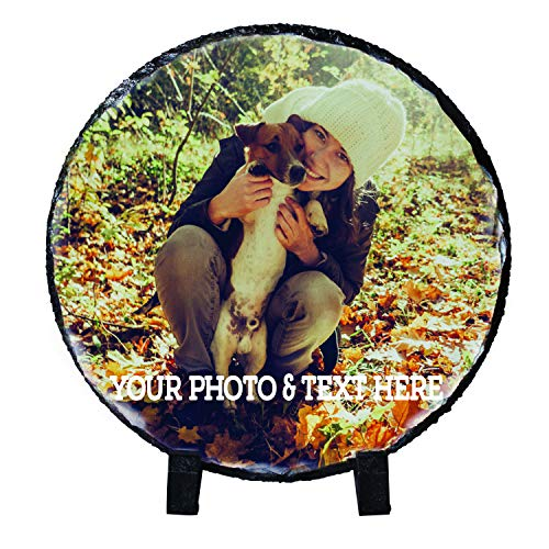 Amazing Items Personalized Picture Frame Customize Your Photo & Text on Stone - Custom Wedding Photo Frame for Couple, Engagement, Valentine's Day, Novelty Gift Idea - 12 Round ()