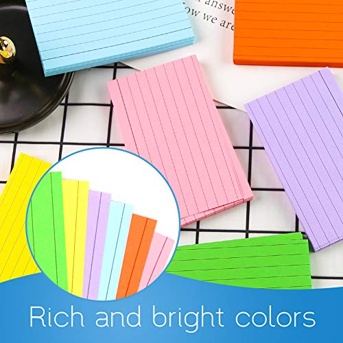 Koogel 600 Pcs Colored Flash Paper, 3 Inch x 5 Inch Blank Note Paper 6 Colors Study Paper Ruled Paper to Take Notes Study Work Make a List