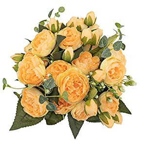 Silk Flower Arrangements KAHAUL Artificial Flowers Silk Peony Yellow Fake Flower Small Pieces Wedding Bouquet Design for Home Wedding Fall Decoration Indoor (4 Pack,Yellow)
