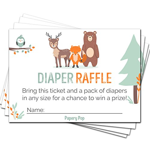 50 Diaper Raffle Tickets for Baby Shower Boy or Girl (50 Pack) - Bring a Pack of Diapers to Win a Prize - Baby Shower Invitations Inserts Request Cards Games Decorations Supplies - Woodland