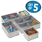 mDesign Fabric Dresser Drawer Storage Organizer for Underwear, Socks, Bras, Tights, Leggings - Set of 5, Gray